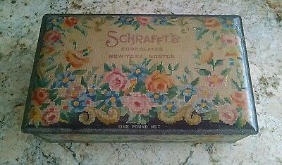 Vintage Schrafft's 1 lb Hinged Lid Candy Chocolates Tin Box Floral NY Boston