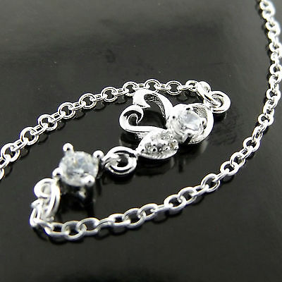 A553 Genuine Real 925 Sterling Silver S/f Diamond Simulated Swan Bracelet Anklet
