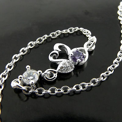 A554 Genuine 925 Sterling Silver Sf Girls Diamond Simulated Swan Amethyst Anklet