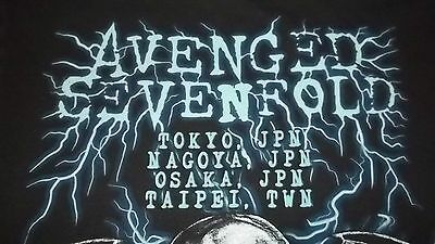 RARE Japan Overseas Concert Dates AVENGED SEVENFOLD Heavy Metal T-Shirt Large