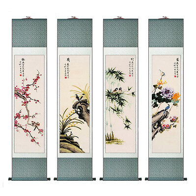 "4pc/lot Top Birds  silk painting Chinese traditional silk painting 12""x55"""