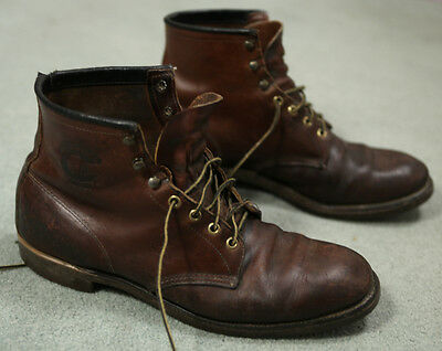 Vintage 60s-70s Chippewa Work Wear Leather Boots 12 D Iron Ankle