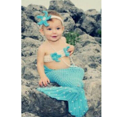 Newborn Girls Boys Mermaid Crochet Knit Costume Set Photo Photography Prop