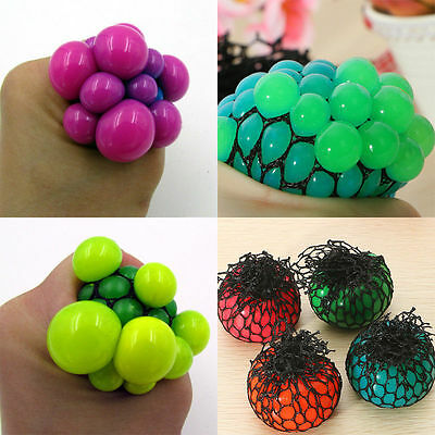 1PC Relief Stress Grape Toy Squishy Mesh Sensory Squeeze Fruity Ball Creative