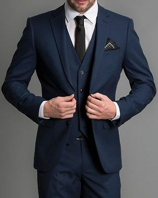 Navy Blue 3 Piece Mens Wedding Suits Slim Fit Groom Tuxedos Busines Suits Blazer