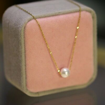Pure 18k Yellow Gold Necklace Women Great Singapore With 7mm Natural Pearl Chain