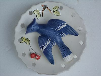 VINTAGE Ceramic 3+D Blue Jay wall pocket/plaque/vase