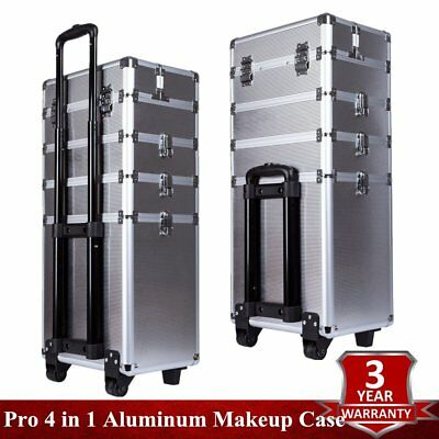 Pro 4 in 1 Aluminum Rolling Makeup Case Storage Cosmetic Train Box Trolley Silve