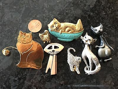 Vintage Cat Pin Set Jewelry Lot Kim Monet Rhinestone MORE!