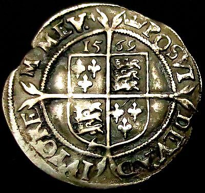 S631: 1569 Elizabeth 1st Hammered Silver Sixpence, initial mark Coronet