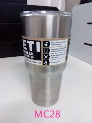 20oz / 30oz New YETI Rambler Tumbler Cup Lid Stainless Steel Silver UK 13/3