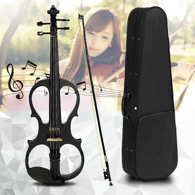 4/4 Maple Electric Violin Full Size with Ebony Fittings Cable Headphone&Case AU