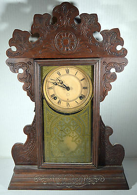 Antique 8-Day Windup Kitchen Clock Hand Carved Ornaments Original Key Pendulum