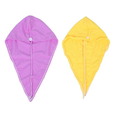 2X Hair Drying Wrap Towel Turban Twist Hat Cap Hat Loop Button For Lady WD