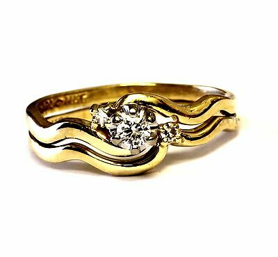 10k yellow gold .14ct round diamond engagement ring wrap wedding band 3g set