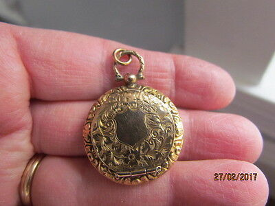 Antique Victorian Deco 9ct Gold Double Sided Locket Pendant Albert Fob