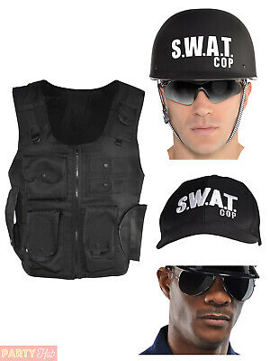Adults SWAT Costume Mens Ladies FBI COP Fancy Dress Vest Hat Police Outfit