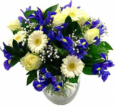 Clare Florist Baby Boy Flowers Bouquet - Fresh Blue Iris, White Roses And To A