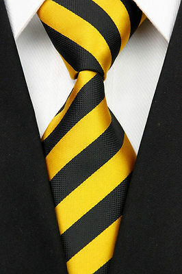 Black And Yellow Striped Classic 100% Silk Men's Necktie A1996