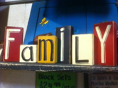 Family Sign Block Letters Wood Hand Painted Shelf Sitters farmhouse Home Decor