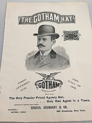 19th Century Magazine Ad THE GOTHAM HAT The Hat Review from 1895