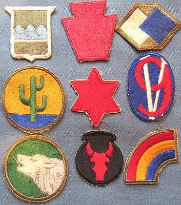 Lot of 9 original WWII period US Army division shoulder patches (2)