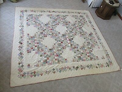 "Antique 19th C Hand Made Stitched Pieced Crossed Square Block Quilt 97"" x 88.75"""