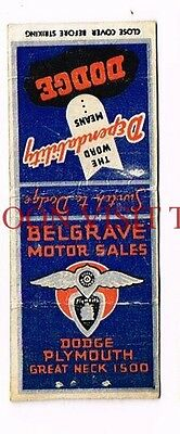 Dodge Bros Plymouth Belgrave Motor Sales Great Neck New York Matchcover