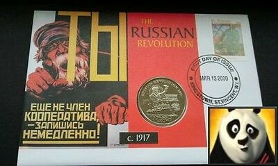1999 ISLE OF MAN 1 Crown Russian Revolution 1917 Russia First Day Coin Cover FDC