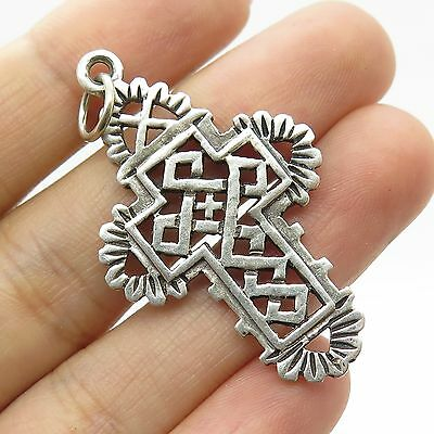 Vintage 925 Sterling Silver Large Religious Cross Charm Pendant