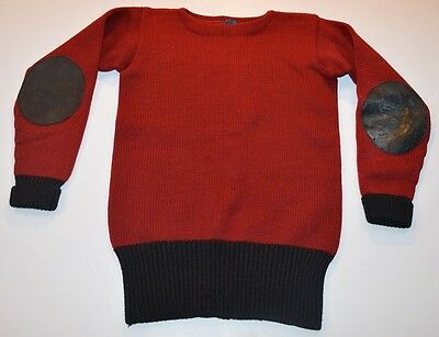 RARE Vintage VTG CHAMPION Mens Small 1920s Elbow Patch Wool Crewneck Sweater Red