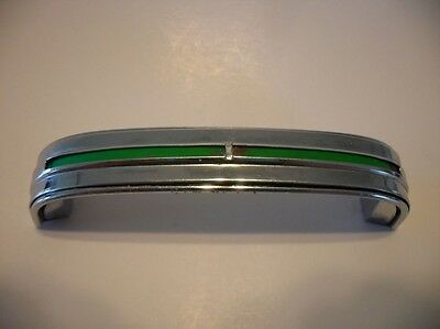 Vintage Chrome Drawer Pull GREEN Inset Line Cabinet Door Handle Stanley Art Deco