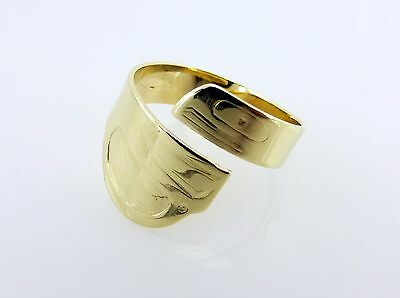 Native by Dede Nelson Gold 14K Hand Carved Ring
