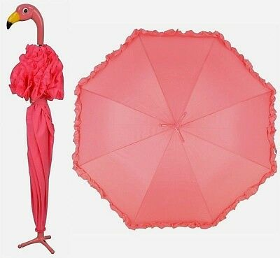 Quirky Pink Flamingo Ruffle Umbrella Parasol Fancy Gift Alice in Wonderland