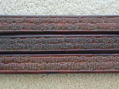 Antique Mongolian Buddhist Hand Carved Wooden Blocks Set Of 3