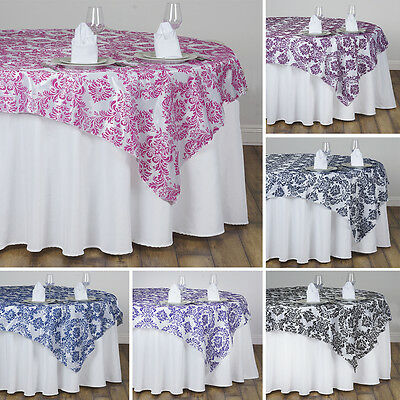 "15 pcs FLOCKING TABLE OVERLAYS 90x90"" Wedding Party Catering Discounted Linens"