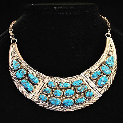 Turquoise & Sterling Silver Navajo Necklace by Charles Johnson