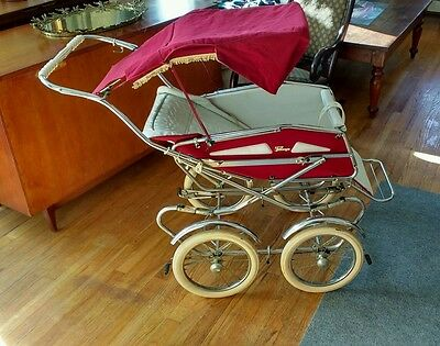 Antique Vintage Perego Baby Pram Stroller Buggy Carriage Red Velvet