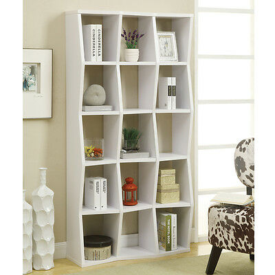 New Contemporary White Wood Bookcase Asymmetrical Bookshelf Cubed Book Shelves