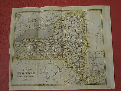 1842 Antique Original Colored Map Of New York State,   Showing Counties & Cities
