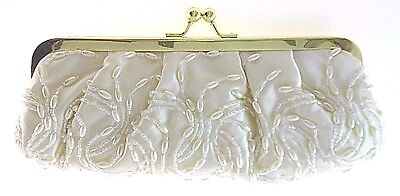 La Reagale Ivory Satin/beaded Evening Bag With Long Chains