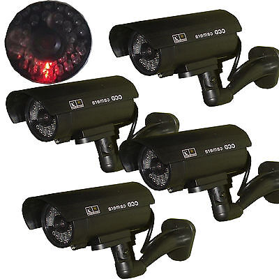 4 x Dummy Security Camera Fake Indoor LED Blink Flashing Light Home Surveillance