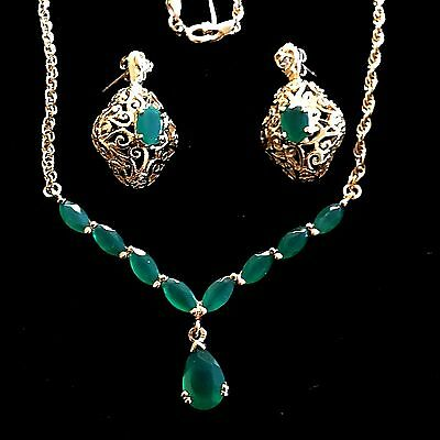 Jade Sterling Silver Gold Overlay Rope Chain Pendant Earring Set MD16