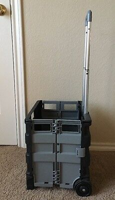 Collapsible Cargo Crate Cart FOLDING ROLLING File Utility CART Office Teaching