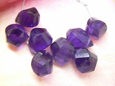 8 NATURAL GEEP PURPLE FACETED URUGUAY AMETHYST BRIOLETTE BEADS 19ctw 8-9mm