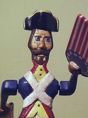 Hand Carved Wooden Whirligig Revolutionary Soldier with Flags