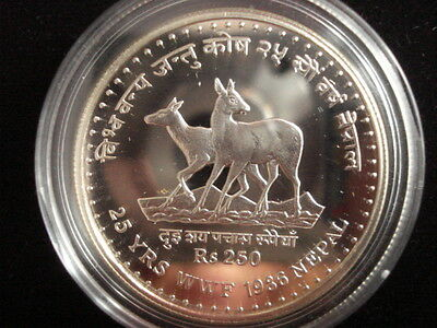 Nepal Shah Dynasty 250 Rupee PROOF 1986 Wildlife Musk deer Silver Coin w/ COA