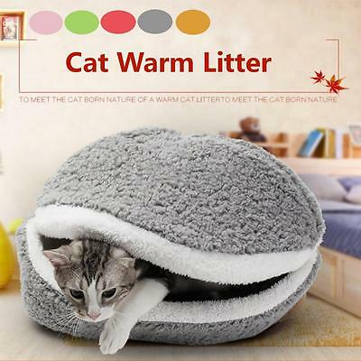 Kitten Cat Dog Puppy Pet House Sleeping Bed Cave Soft Mat Pad Fleece Nest Kennel