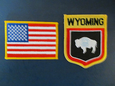 2 Lot Wyoming & USA Patches Hat Jacket Hoodie Biker Vest Backpack Travel