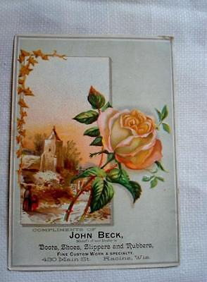Victorian Trade Card Church Rose John Beck Boots Shoes Rubbers Racine Wisconsin